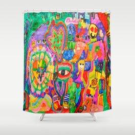 Pop Art World by Elisavet Shower Curtain