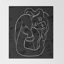 Matisse Line art Woman Black Throw Blanket