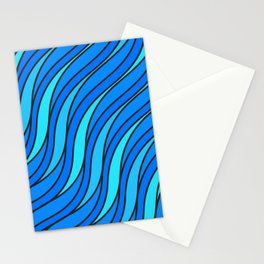 Abstract blue waves Stationery Cards