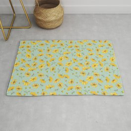 Yellow Cosmos Flower Pattern, Teal Rug