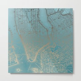 Golden Blue NYC + Brooklyn Metal Print