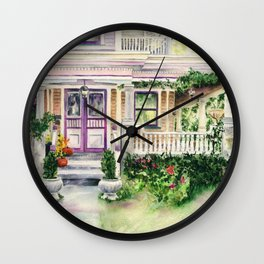 Pink Old House in Cedarburg, Wisconsin, Vintage, Antique, Watercolor, custom house portrait Wall Clock