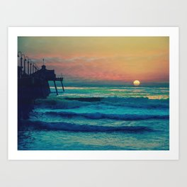 Bouncing Along The Ocean Waves ~ California Art Print