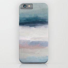 Dark Teal Blue, White, Pink, Light Blue Modern Wall Art, Ocean Waves Diptych Nursery Beach Decor Art iPhone Case