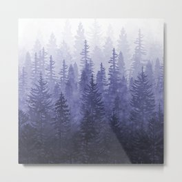 My Misty Secret Forest - deep purple Metal Print