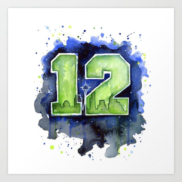 12th Man Seahawks Seattle Go Hawks Art Art Print