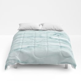 Marble Pale Teal Sea Green Marble Comforters