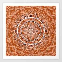 Detailed Burnt Orange Mandala Kunstdrucke