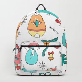 Cute Colorful Cartoon Christmas Animals Pattern Backpack