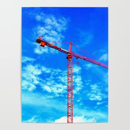 Red Tower Crane Poster