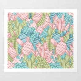 Pastel Cacti Obsession #society6 Art Print