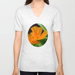 Orange Poppies Unisex V-Neck