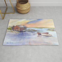 Maine Coast with Boats Rug