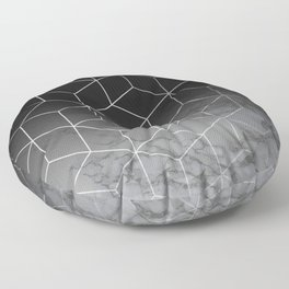Silver Geometric Cubes Trendy White Grey Marble Floor Pillow