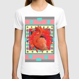 CORAL-GREY ART DECO TURQUOISE-SAFFRON FLAMINGO PORTRAIT ABST T-shirt