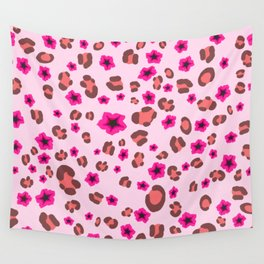 Romantic Leopard Print with Red Flowers on Pink Wall Tapestry