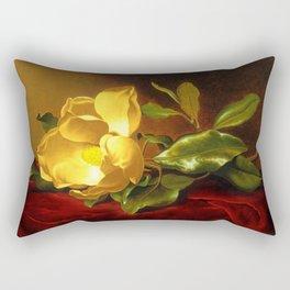 A Gold Yellow Magnolia on Red Velvet by Martin Johnson Head Rectangular Pillow