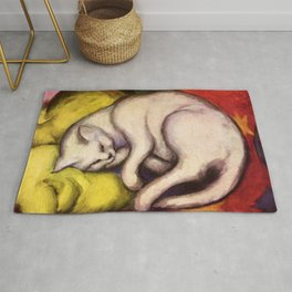 """Franz Marc """"The white cat on the yellow pillow"""" Rug"""