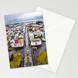 Looking Down on the Colored Buildings Down to the Sea in Reykjavik Stationery Cards