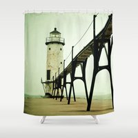 calm Shower Curtains featuring Manistee Light by Olivia Joy StClaire