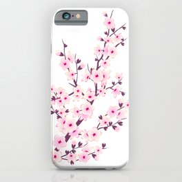 Cherry Blossom Pink White iPhone Case