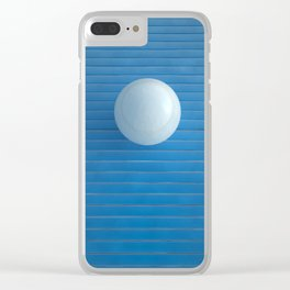 white on blue Clear iPhone Case
