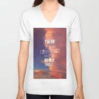 faith V-neck T-shirts featuring faith  by Brittney Borowski