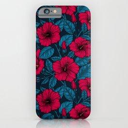 Red hibiscus flowers iPhone Case