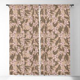 Sakura Branch Pattern - Pale Dogwood + Hazelnut Blackout Curtain