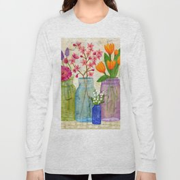 Springs Flowers in Old Jars Long Sleeve T-shirt