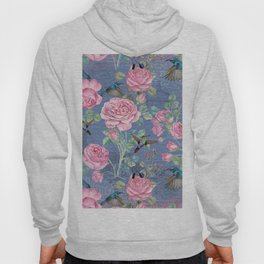 Vintage Watercolor hummingbird and English Roses on blue Background Hoody