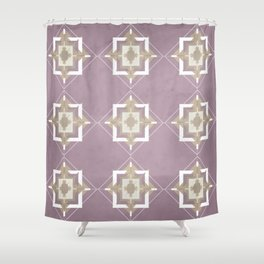 Musk Mauve and Taupe Mosaic Pattern Shower Curtain
