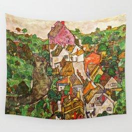 Egon Schiele - Landscape at Krumau 1916 Wall Tapestry