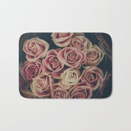 Vintage pink and white roses Bath Mat