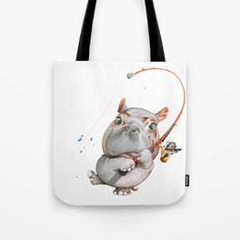 A hippopotamus fishing Tote Bag