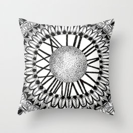 Time and Space Zoomed in Black, Grey, and White Mandala Throw Pillow