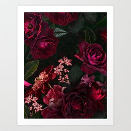 Vintage & Shabby Chic - Night Botanical Flower Roses Garden Art Print