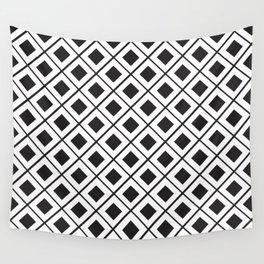 Diamond Line Grid // Black Wall Tapestry
