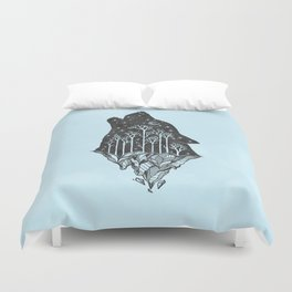 Adventure Wolf - Nature Mountains Wolves Howling Design Black on Turquoise Blue Duvet Cover