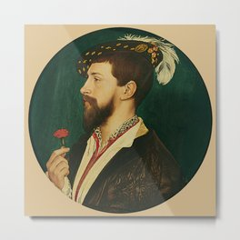"""Hans Holbein the Younger """"Portrait of Simon George of Cornwall"""" Metal Print"""