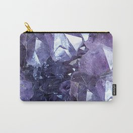 Amethyst Crystal Cluster Carry-All Pouch