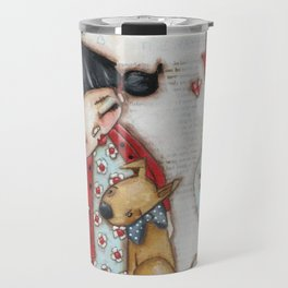 Trusted Confidant - A Girl confides in her Dog Travel Mug