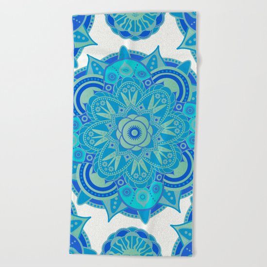 Throat Chakra Mandala Beach Towel