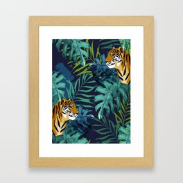 Jungle kingdom Tiger Stripes Monstera Leaves Lush Forest Green Hues Watercolor Painting Framed Art Print