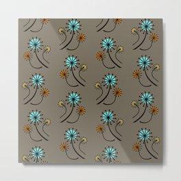Mid Century Modern Dandelions on brown Metal Print