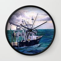 england Wall Clocks featuring New England by Samantha Crepeau