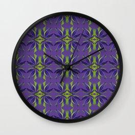 Marijuana Leaves Ultra Violet Pattern Wall Clock