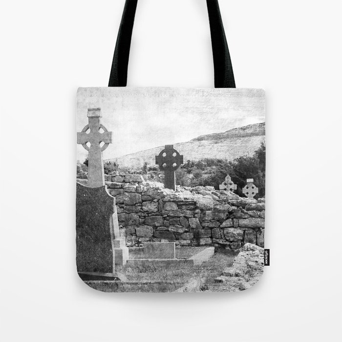 Halloween Graveyard | Horror | Black and White Cemetery | Gothic Graves | Tote Bag