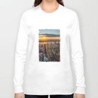 manhattan Long Sleeve T-shirts featuring MANHATTAN - sunset by hannes cmarits (hannes61)