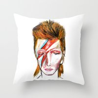 david bowie Throw Pillows featuring Bowie by James Peart